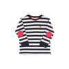 Scott Stadium Shirt - Nantucket Navy Stripe with Richmond Red Elbow Patches