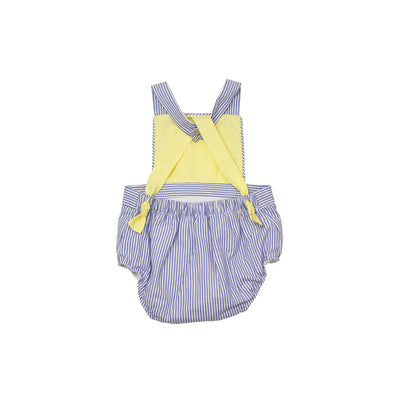 Seabrook Sunsuit - Blue Oxford Stripe with Seaside Sunny Yellow