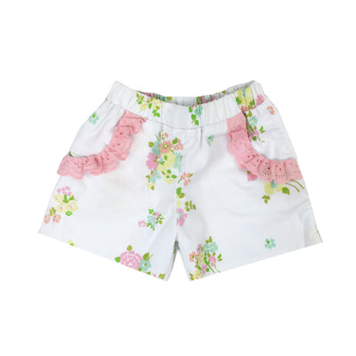 Shirley Shorts - Biltmore Bouquet with Pink Eyelet