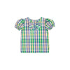 Short Sleeve Beatrice Bow Blouse - Primary School Plaid