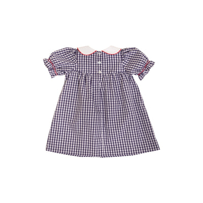 Short Sleeve Banks Bow Dress - Nantucket Navy Gingham with Richmond Red