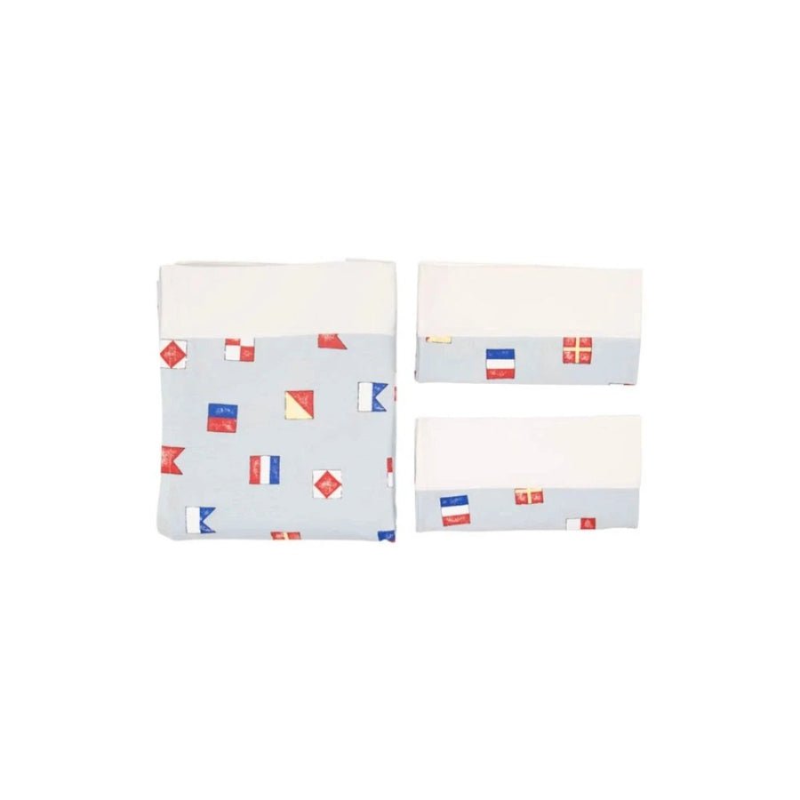 Sleep Tight Sheet Set - New Street Nautical Flags with Worth Avenue White