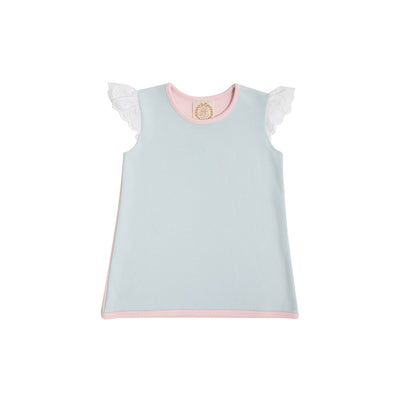Sleeveless Polly Play Shirt - Buckhead Blue with Palm Beach Pink and Worth Avenue White Eyelet