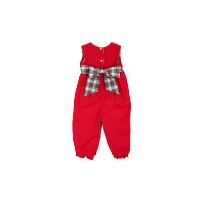 Sleeveless Rebecca Romper (Corduroy) - Richmond Red with Tillingham Tartan