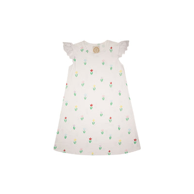 Sleeveless Polly Play Dress - Travilah Tulip with Worth Avenue White Eyelet