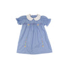 Smocked Holly Day Dress - Park City Periwinkle with Flower Embroidery