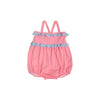 St. Bart's Bubble Bathing Suit - Hamptons Hot Pink with Buckhead Blue Eyelet