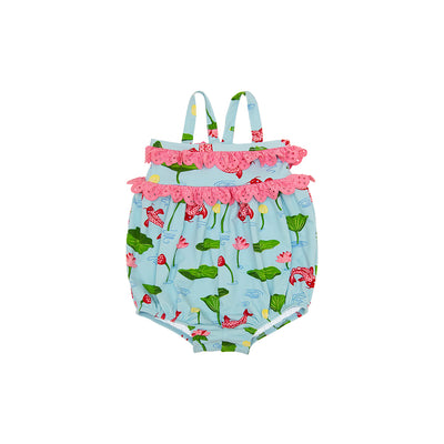 St. Barts Bubble Bathing Suit - Cute & Koi with Hamptons Hot Pink