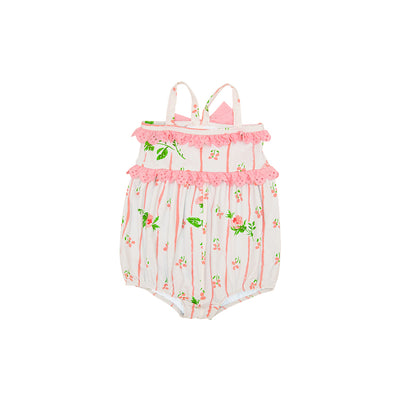 St. Barts Bubble Bathing Suit - Ridgewood Rows with Sandpearl Pink