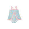 Stratford Scallop Swimsuit - Sandyport Sailboats Blue with Palm Beach Pink