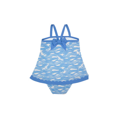 Stratford Scallop Swimsuit - Gull Play with Sunrise Boulevard Blue