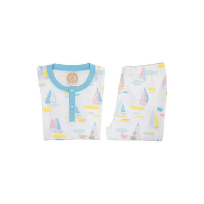 Sutton's Short Sleeve Set - Sandyport Sailboats with Brookline Blue