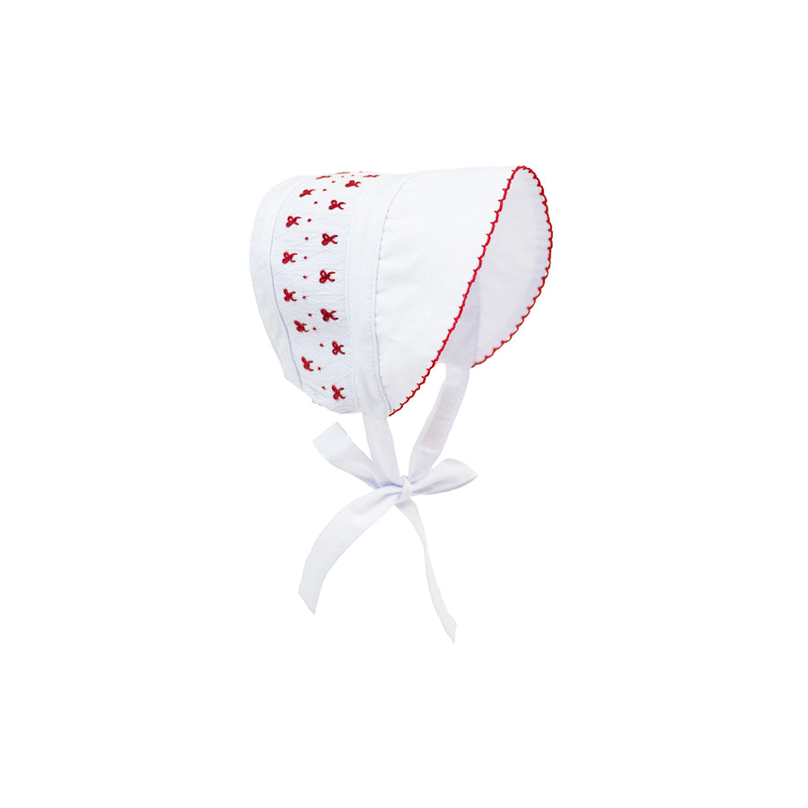 Sweetly Smocked Bonnet - Worth Avenue White with Red