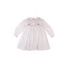 Sybil Smocked Dress - Worth Avenue White with Richmond Red