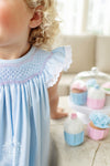 Sandy Smocked Dress - Buckhead Blue with Plantation Pink