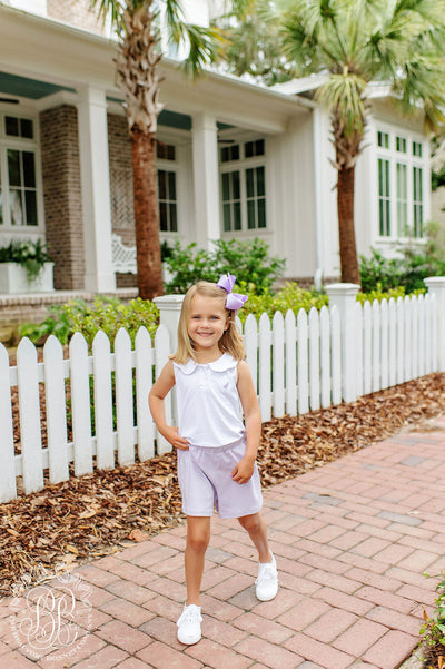Paige's Playful Polo - Worth Ave. White with Lauderdale Lavender Micro Dot