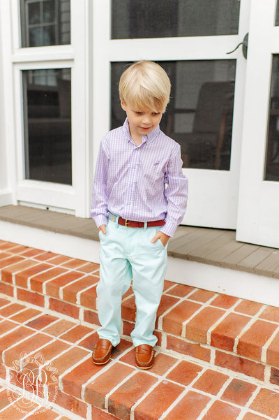 Sheffield Pants - Seafoam with Worth Avenue White Stork