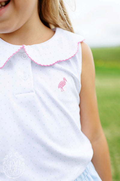 Paige's Playful Polo - Buckhead Blue Microdot with Hamptons Hot Pink