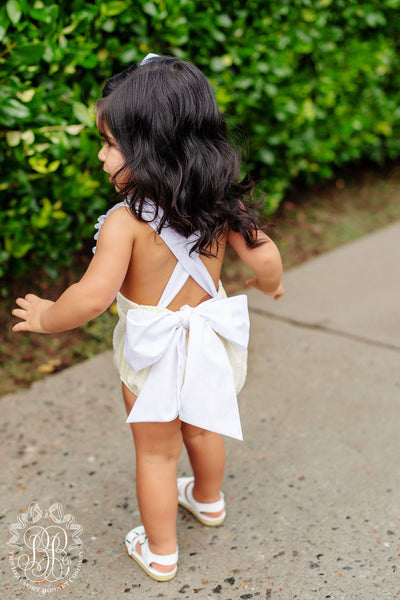 Sally Sunsuit - Seaside Sunny Yellow Seersucker with Worth Avenue White