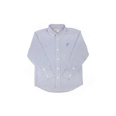 Dean's List Dress Shirt - Winnetka Window Pane with Barbados Blue Stork