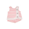 Tilly Snap Set - Sandpearl Pink & Worth Avenue White Stripe with Flower Applique
