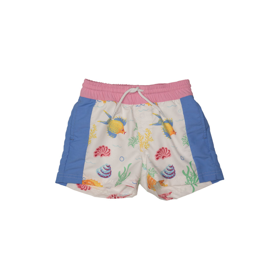 da5e9e06b3260 Vintage Volley Trunks - Fripp Fishies with Hamptons Hot Pink and Barbados  Blue ...