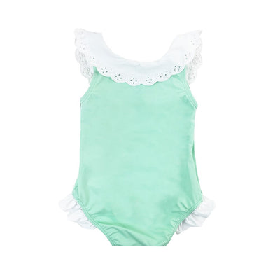 Water Sand Swimsuit - Sea Island Seafoam with Worth Avenue White