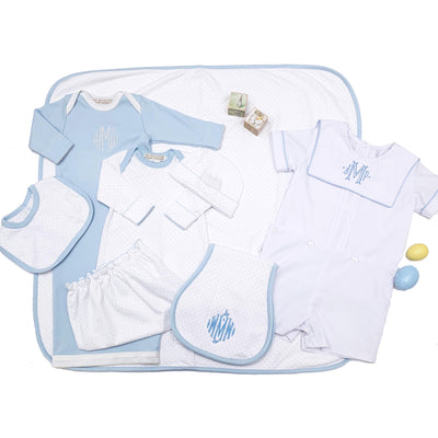 Oopsie Daisy Burp Cloth - Worth Avenue White with Buckhead Blue Micro Dot