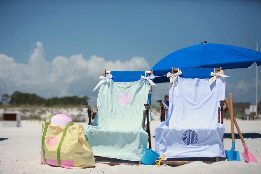 Bonnie Beach Towel - Pink Savannah Seersucker with Breakers Blue Seersucker Ties