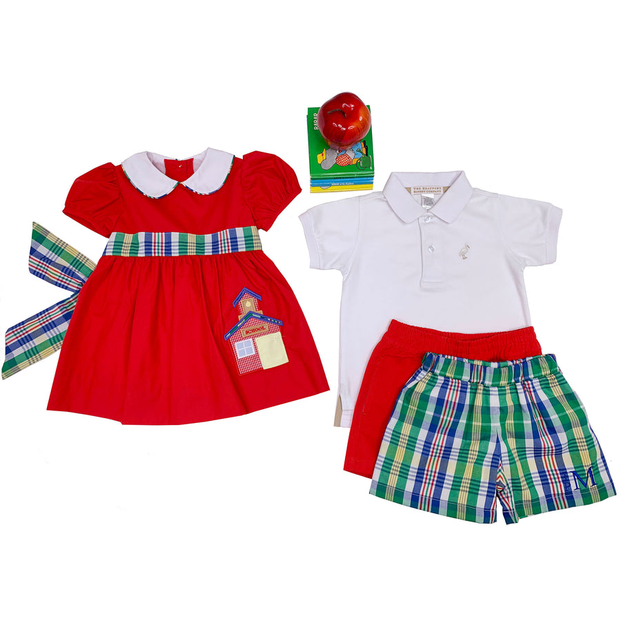 Shelton Shorts - Primary School Plaid with Richmond Red Stork