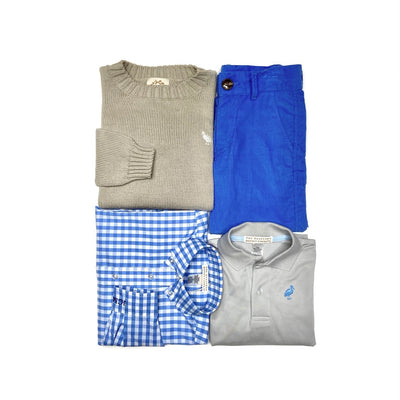 Prep School Pants (Corduroy) - Barbados Blue with Grantley Gray Stork