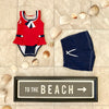 Bridgehampton Bathing Suit - Richmond Red with Nantucket Navy