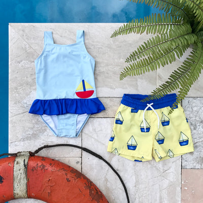 Boothbay Bathing Suit - Buckhead Blue & Rockefeller Royal with Sailboat & Sun Applique