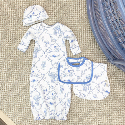 Baby Buggy Blanket - Chinoiserie Chap with Barbados Blue