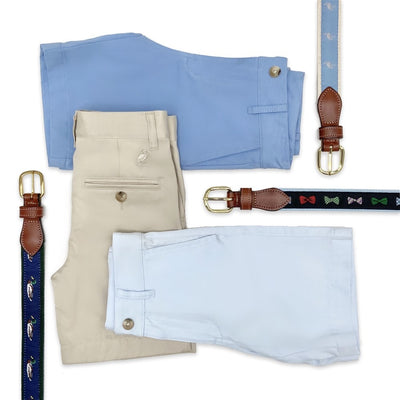 Charlie's Chinos - Park City Periwinkle with Worth Avenue White Stork