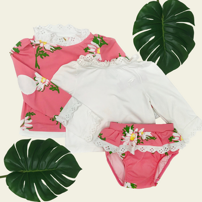 Wave Spotter Swim Set - Darien Daisy with Worth Avenue White Eyelet