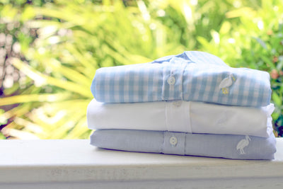 The Dean's List Dress Shirt - Buckhead Blue Gingham with Multicolor Stork