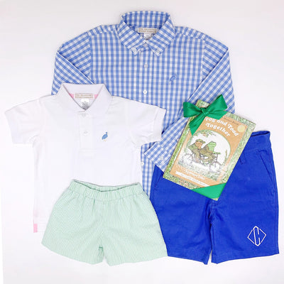 Prim & Proper Polo - Worth Avenue White with Barbados Blue and Yellow Stork