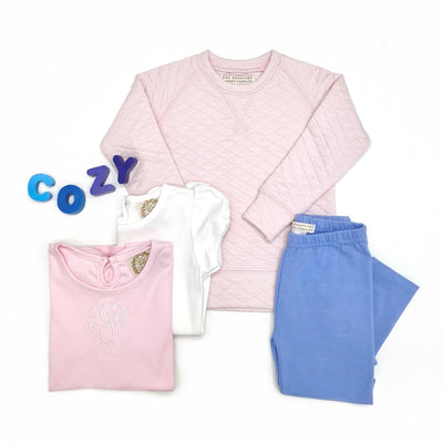 Cassidy Comfy Crewneck (Quilted) - Palm Beach Pink with Gold Stork