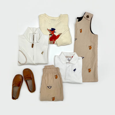 Long Sleeve Prim & Proper Polo - Palmetto Pearl with Nantucket Navy Stork