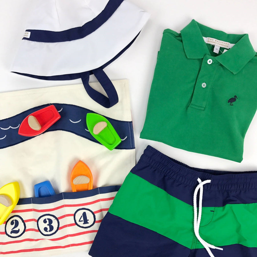 Prim & Proper Polo Shirt- Kiawah Kelly Green with Nantucket Navy Stork