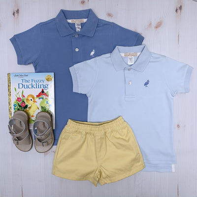 Prim and Proper Polo - Buckhead Blue with Park City Periwinkle Stork