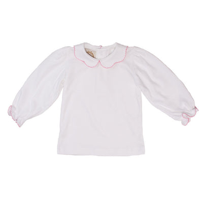 Maude's Peter Pan Collar Shirt - White Long Sleeve Knit Pima Cotton with Hot Pink Picot Trim