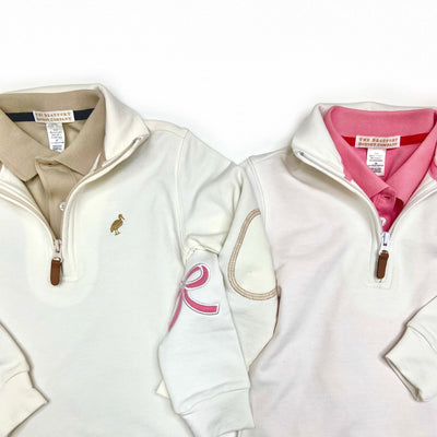 Canter Collar Half-Zip - Worth Avenue White with Hamptons Hot Pink