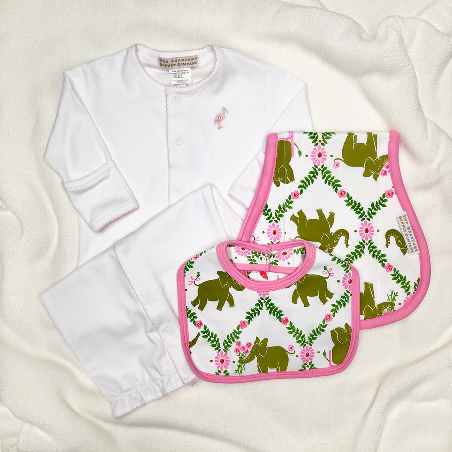 Bellyfull Bib - Highland Park Peanut with Hamptons Hot Pink Trim