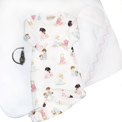 Sweetly Smocked Blessing Blanket - Worth Avenue White with Palm Beach Pink