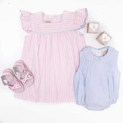 Rosemary Ruffle Dress - Pinckney Pink Stripe with Buckhead Blue