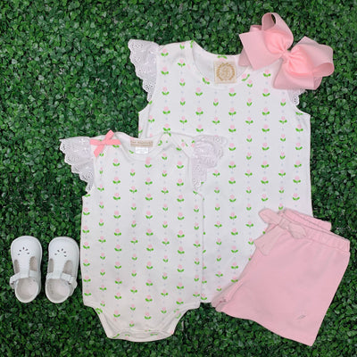 Wendy Onesie - Old Town Tulip with Worth Ave White with Eyelet