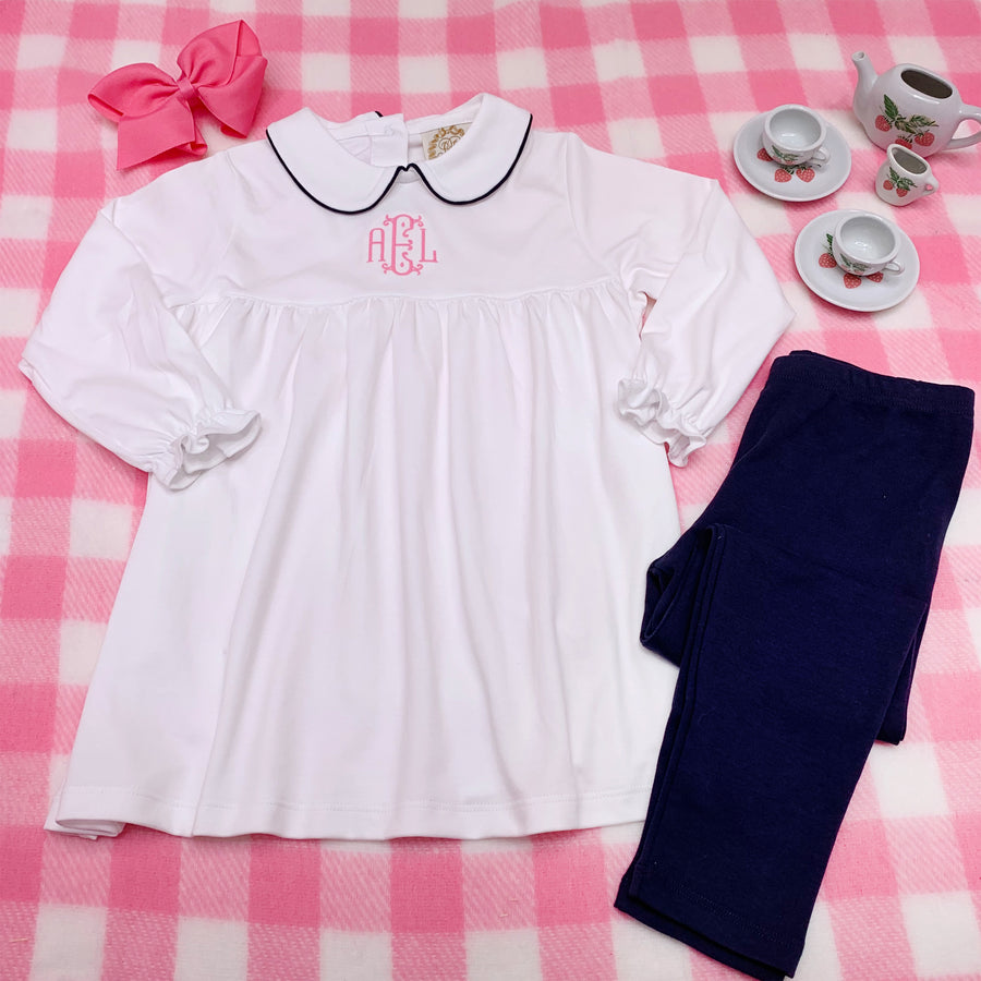 Maude's A Line Peter Pan Collar Shirt - Worth Avenue White with Nantucket Navy