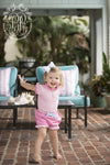 Little Miss Prim and Proper Polo Oneise - Plantation Pink with Palm Beach Pink Ruffle